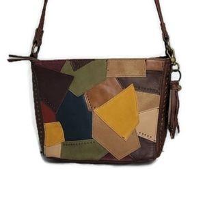 The Sak Indio Patch Brown Leather Shoulder Bag